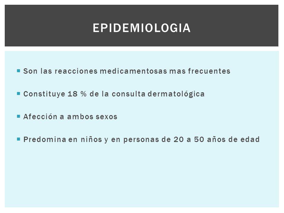 Epidemiologia Son las reacciones medicamentosas mas frecuentes