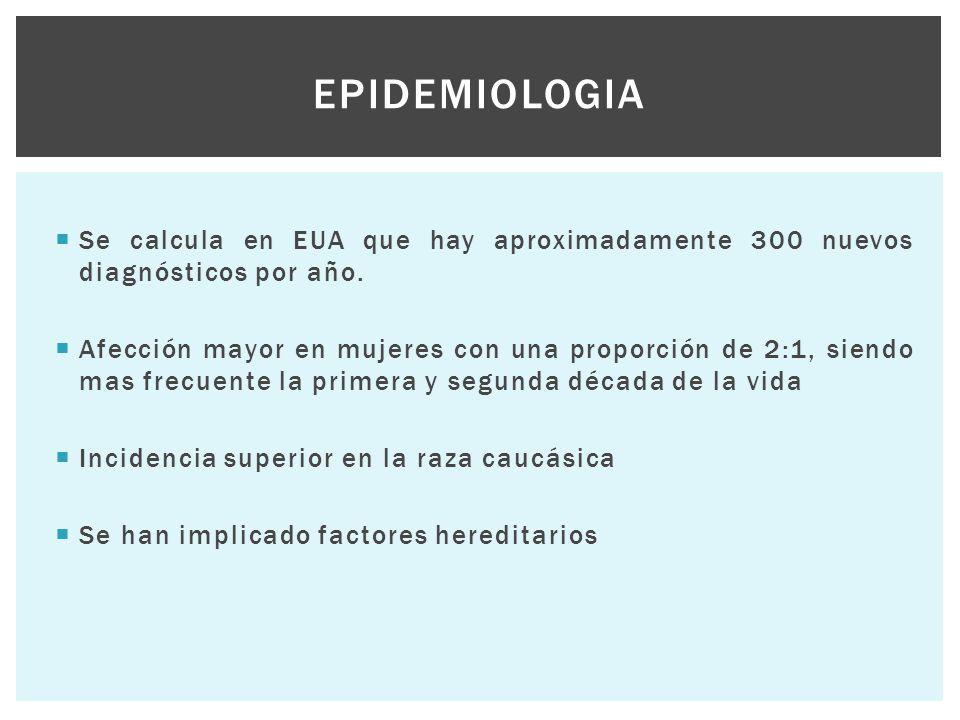 Epidemiologia Se calcula en EUA que hay aproximadamente 300 nuevos diagnósticos por año.