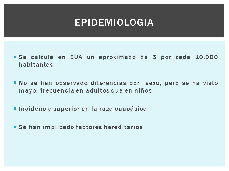 Epidemiologia Se calcula en EUA un aproximado de 5 por cada 10.000 habitantes.