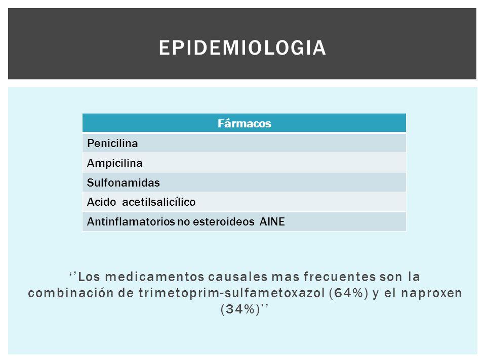 Epidemiologia ''Los medicamentos causales mas frecuentes son la combinación de trimetoprim-sulfametoxazol (64%) y el naproxen (34%)''