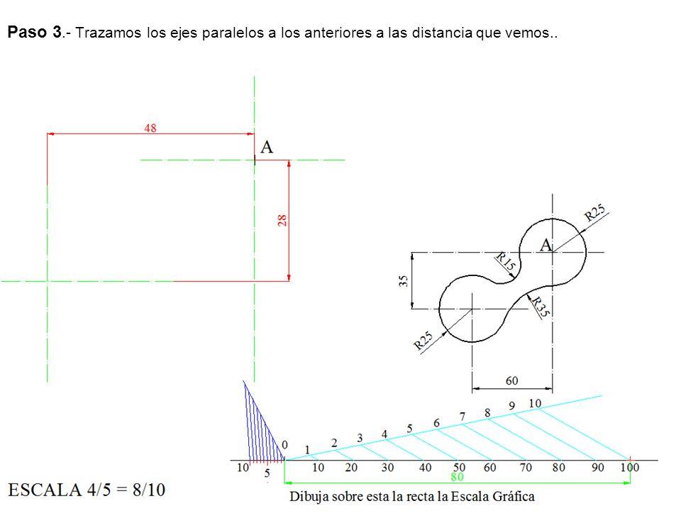 Paso 3.- Trazamos los ejes paralelos a los anteriores a las distancia que vemos..
