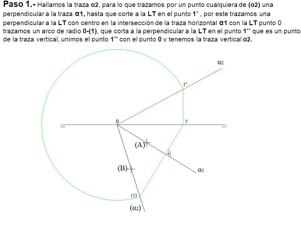 Paso 1.- Hallamos la traza α2, para lo que trazamos por un punto cualquiera de (α2) una perpendicular a la traza α1, hasta que corte a la LT en el punto 1' , por este trazamos una perpendicular a la LT con centro en la intersección de la traza horizontal α1 con la LT punto 0 trazamos un arco de radio 0-(1), que corta a la perpendicular a la LT en el punto 1'' que es un punto de la traza vertical, unimos el punto 1'' con el punto 0 y tenemos la traza vertical α2.