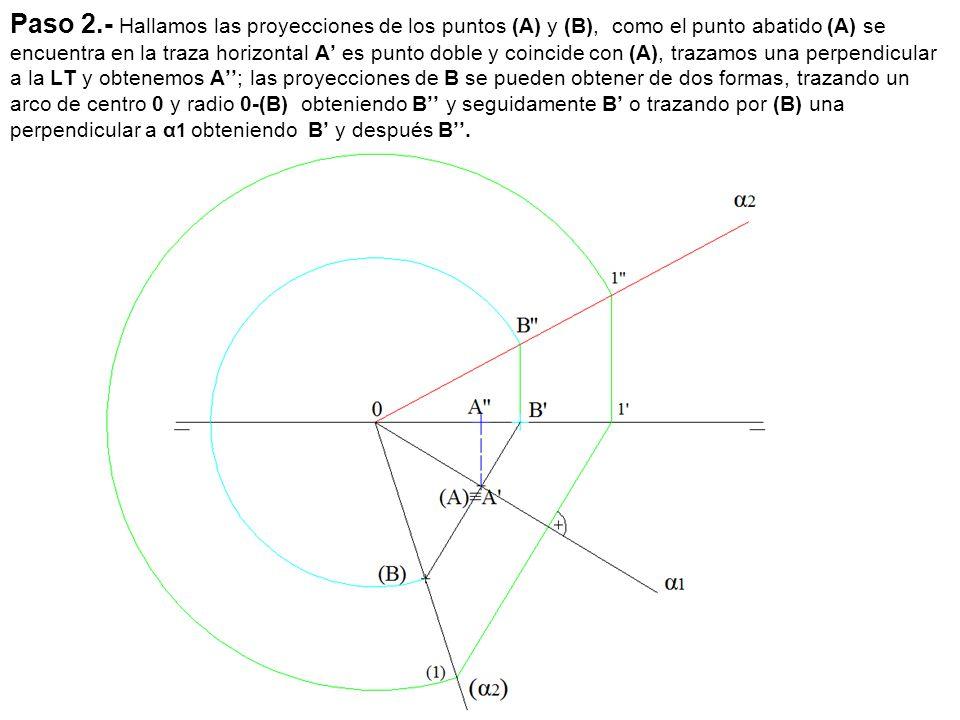 Paso 2.- Hallamos las proyecciones de los puntos (A) y (B), como el punto abatido (A) se encuentra en la traza horizontal A' es punto doble y coincide con (A), trazamos una perpendicular a la LT y obtenemos A''; las proyecciones de B se pueden obtener de dos formas, trazando un arco de centro 0 y radio 0-(B) obteniendo B'' y seguidamente B' o trazando por (B) una perpendicular a α1 obteniendo B' y después B''.