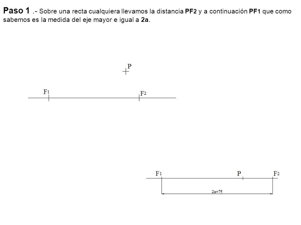 Paso 1 .- Sobre una recta cualquiera llevamos la distancia PF2 y a continuación PF1 que como sabemos es la medida del eje mayor e igual a 2a.