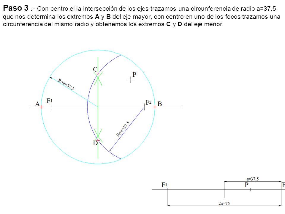 Paso 3 .- Con centro el la intersección de los ejes trazamos una circunferencia de radio a=37.5 que nos determina los extremos A y B del eje mayor, con centro en uno de los focos trazamos una circunferencia del mismo radio y obtenemos los extremos C y D del eje menor.