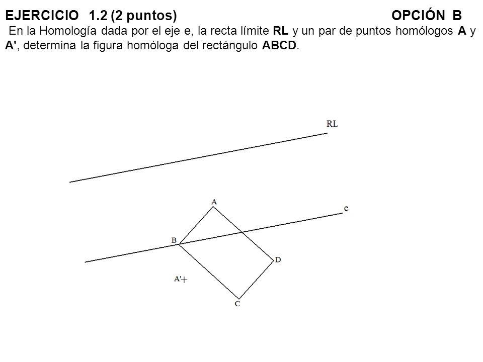 EJERCICIO 1.2 (2 puntos) OPCIÓN B En la Homología dada por el eje e, la recta límite RL y un par de puntos homólogos A y A , determina la figura homóloga del rectángulo ABCD.