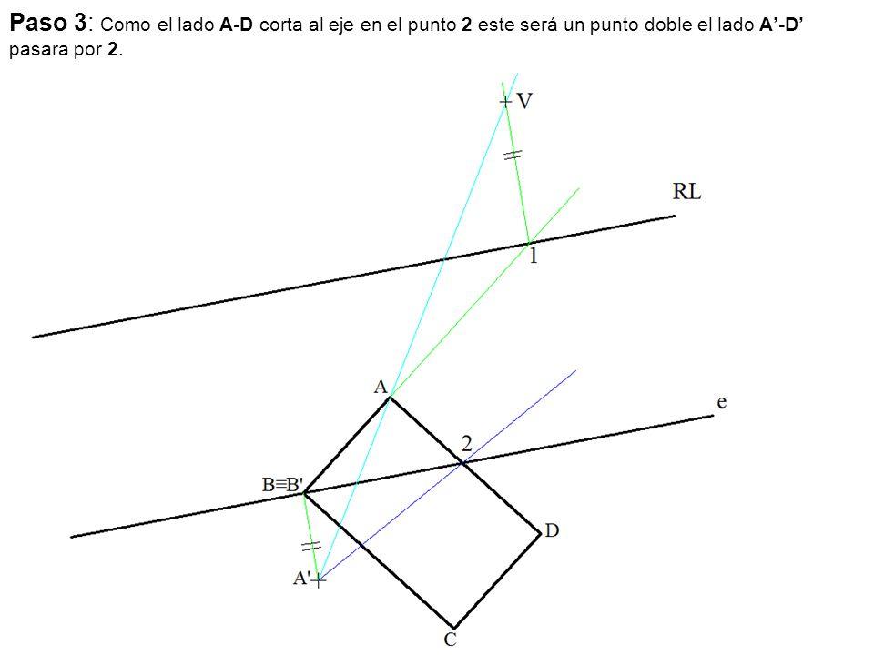 Paso 3: Como el lado A-D corta al eje en el punto 2 este será un punto doble el lado A'-D' pasara por 2.