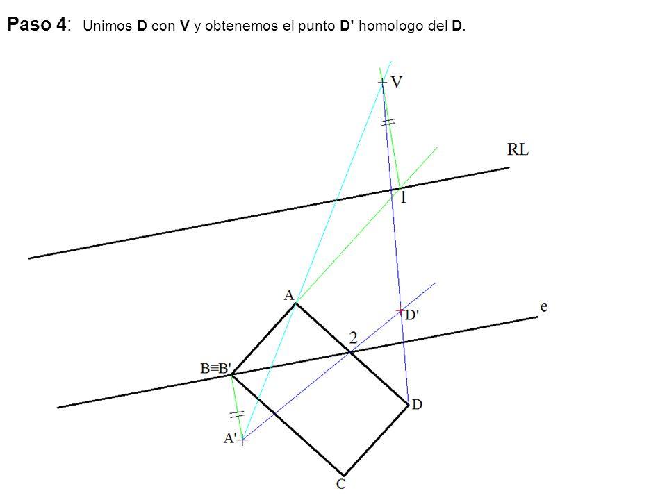 Paso 4: Unimos D con V y obtenemos el punto D' homologo del D.