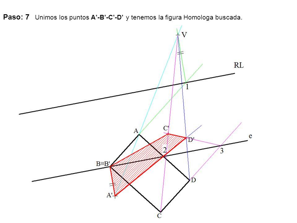 Paso: 7 Unimos los puntos A'-B'-C'-D' y tenemos la figura Homologa buscada.