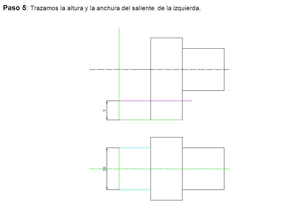 Paso 5: Trazamos la altura y la anchura del saliente de la izquierda.