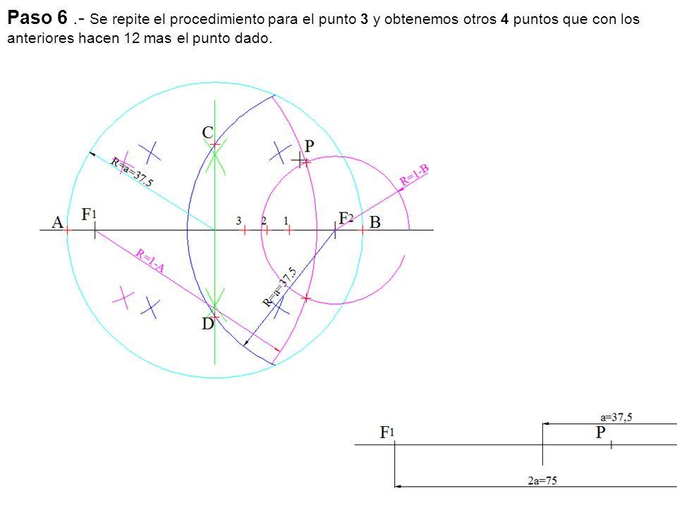 Paso 6 .- Se repite el procedimiento para el punto 3 y obtenemos otros 4 puntos que con los anteriores hacen 12 mas el punto dado.