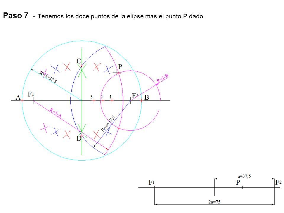 Paso 7 .- Tenemos los doce puntos de la elipse mas el punto P dado.