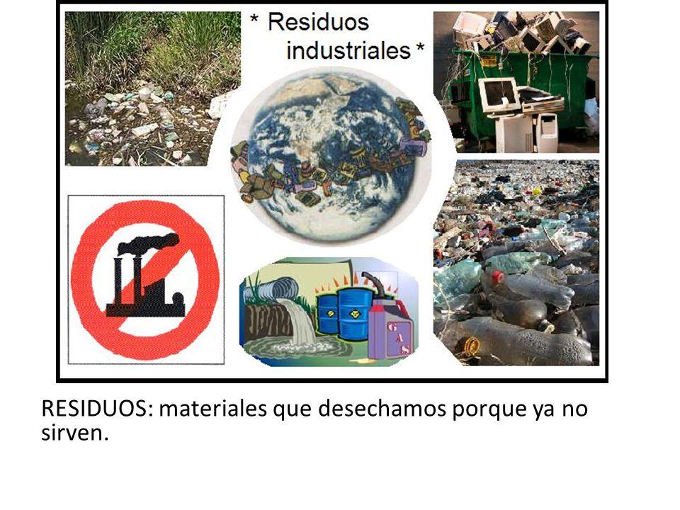 RESIDUOS: materiales que desechamos porque ya no sirven.