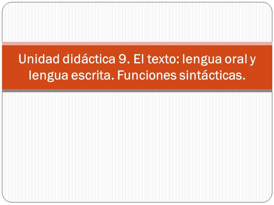 Unidad didáctica 9. El texto: lengua oral y lengua escrita