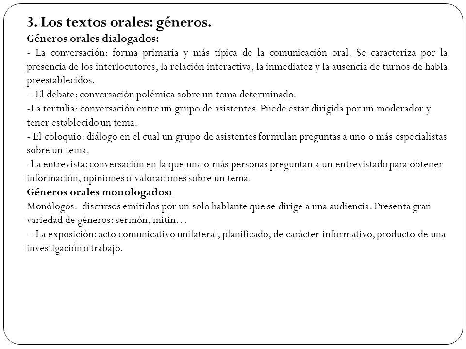 3. Los textos orales: géneros.