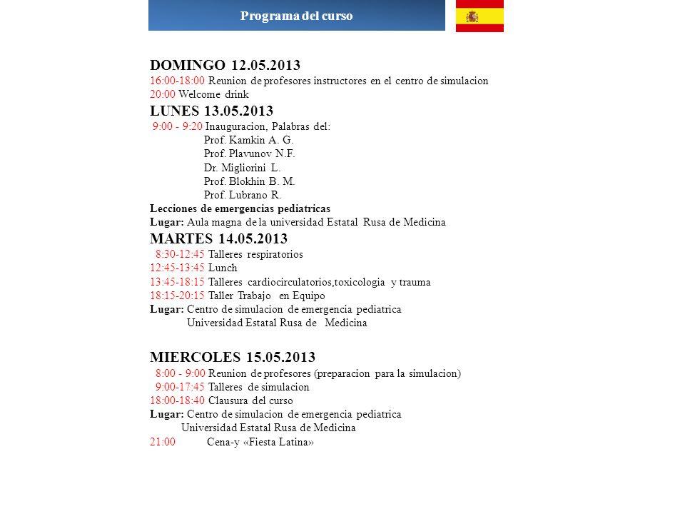 Programa del curso DOMINGO 12.05.2013. 16:00-18:00 Reunion de profesores instructores en el centro de simulacion.
