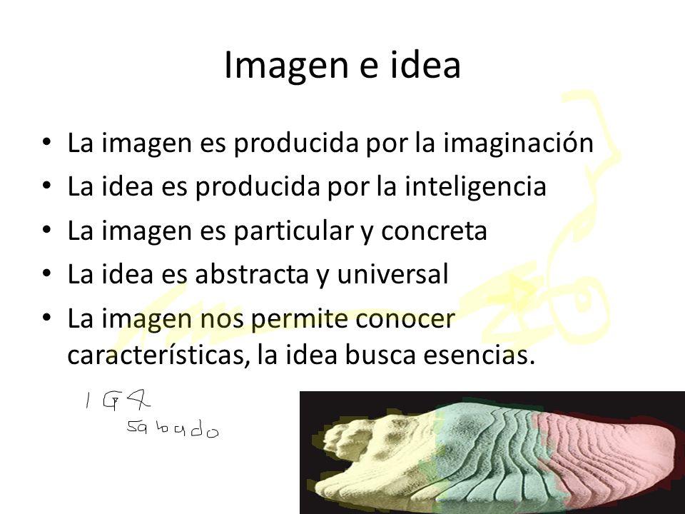 Imagen e idea La imagen es producida por la imaginación
