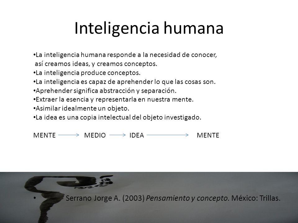 Inteligencia humana La inteligencia humana responde a la necesidad de conocer, así creamos ideas, y creamos conceptos.