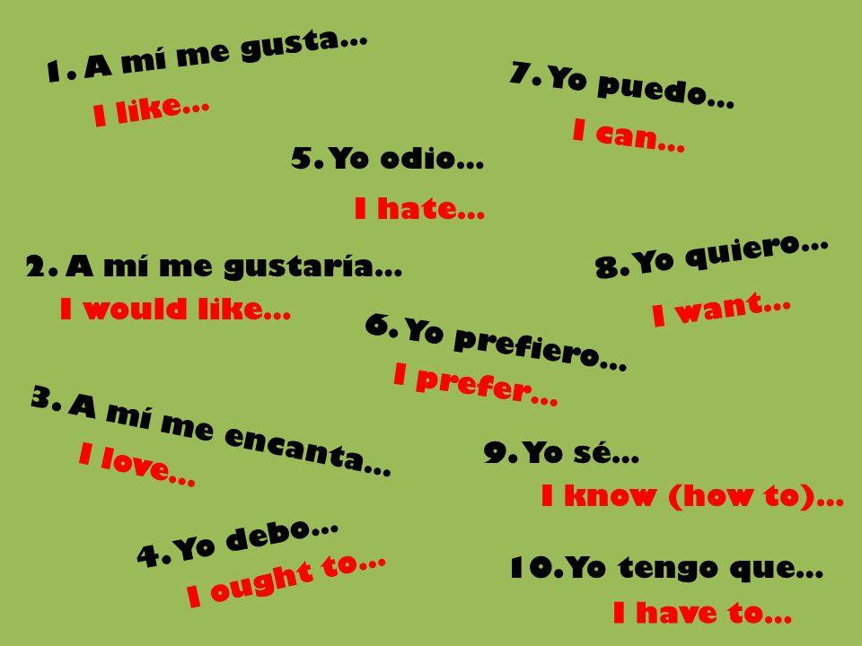 1. A mí me gusta… 7. Yo puedo… I like… I can… 5. Yo odio… I hate… 8. Yo quiero… 2. A mí me gustaría…