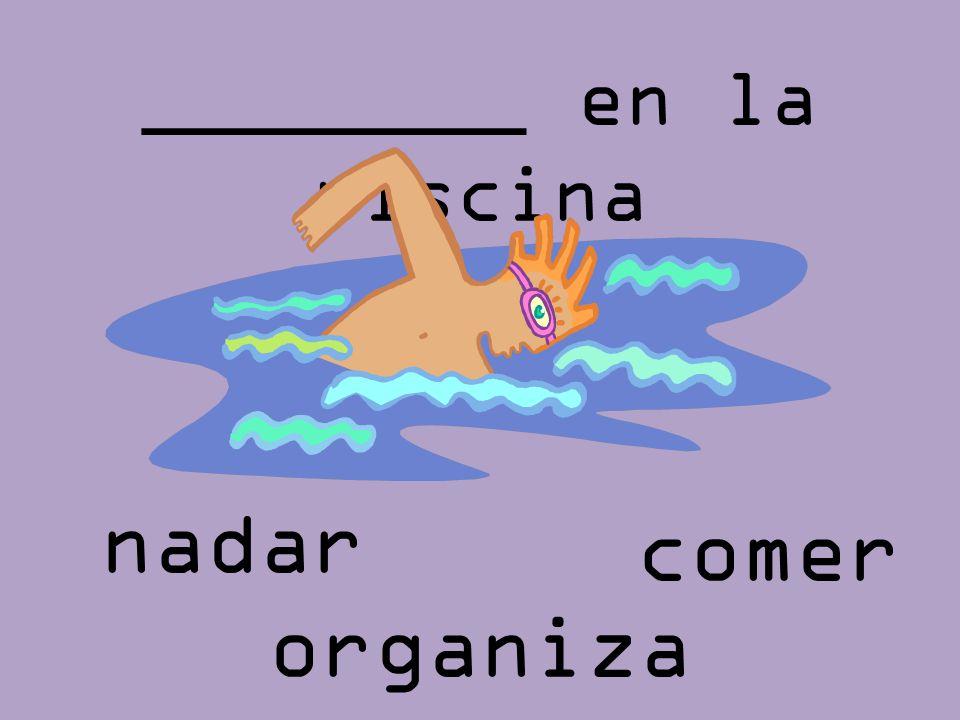 ________ en la piscina nadar comer organizar