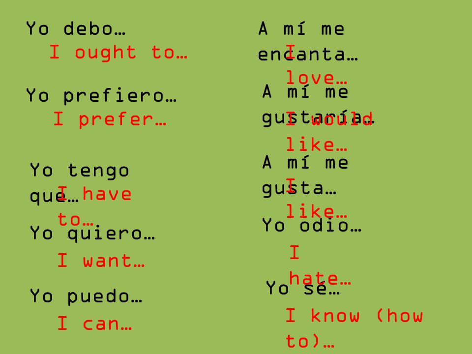 Yo debo… A mí me encanta… I ought to… I love… A mí me gustaría… Yo prefiero… I prefer… I would like…
