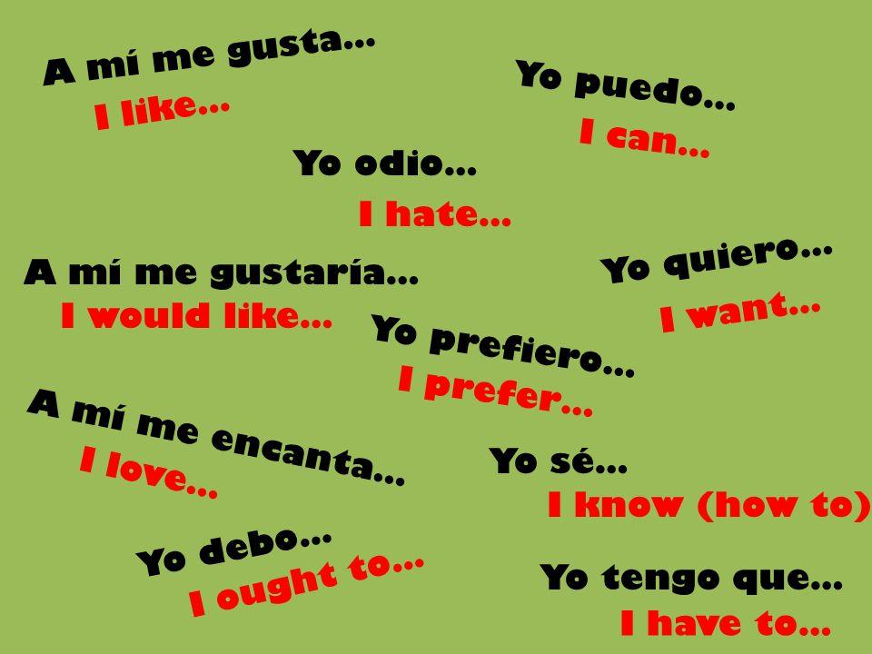 A mí me gusta… Yo puedo… I like… I can… Yo odio… I hate… Yo quiero… A mí me gustaría… I want…