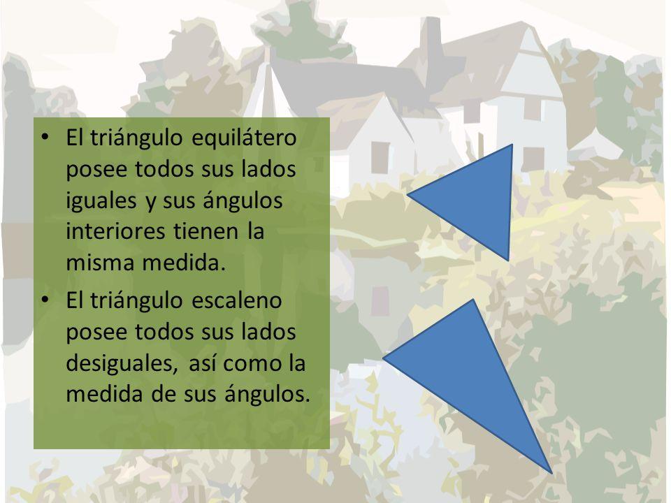 El triángulo equilátero posee todos sus lados iguales y sus ángulos interiores tienen la misma medida.