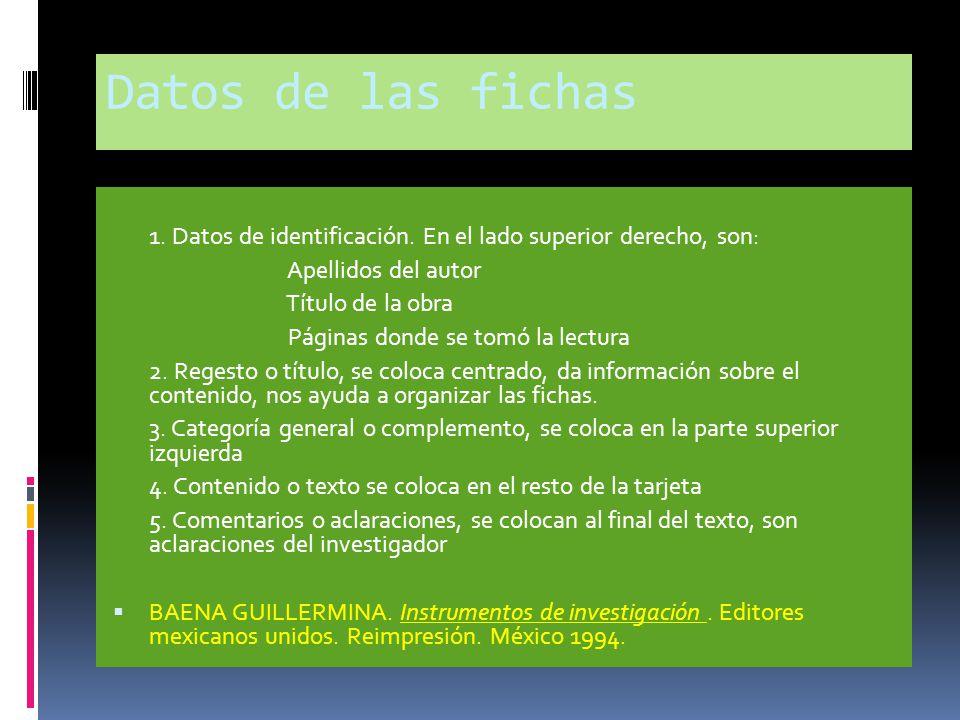 Datos de las fichas 1. Datos de identificación. En el lado superior derecho, son: Apellidos del autor.
