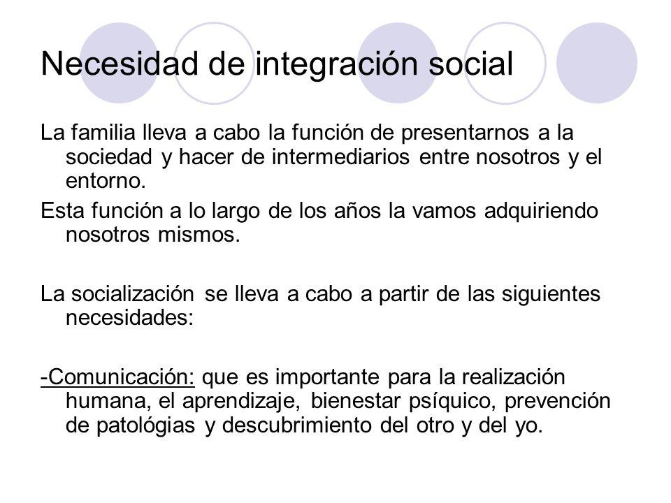 Necesidad de integración social