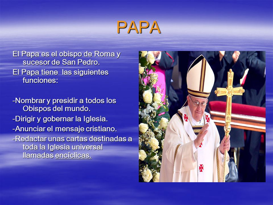 PAPA El Papa es el obispo de Roma y sucesor de San Pedro.