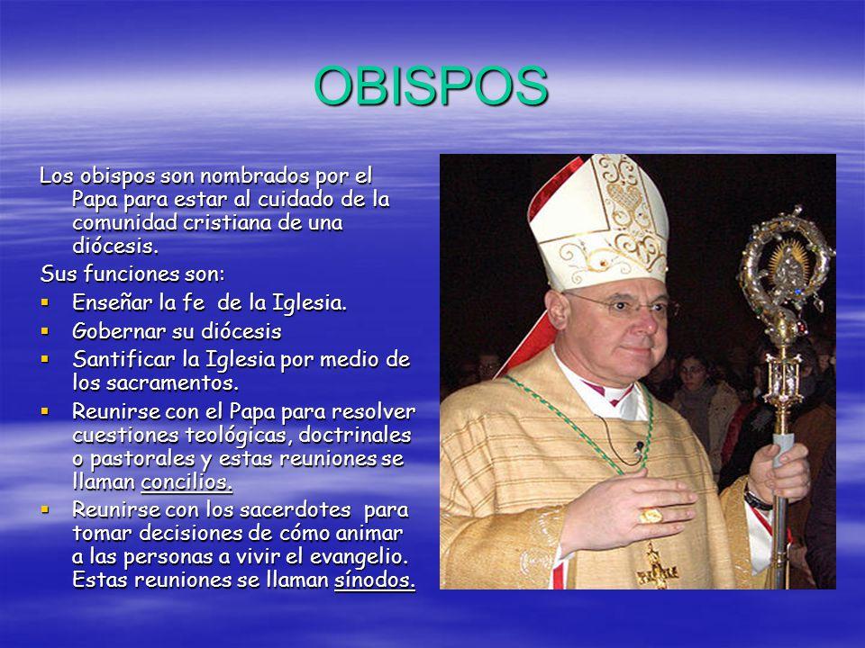 OBISPOS Los obispos son nombrados por el Papa para estar al cuidado de la comunidad cristiana de una diócesis.