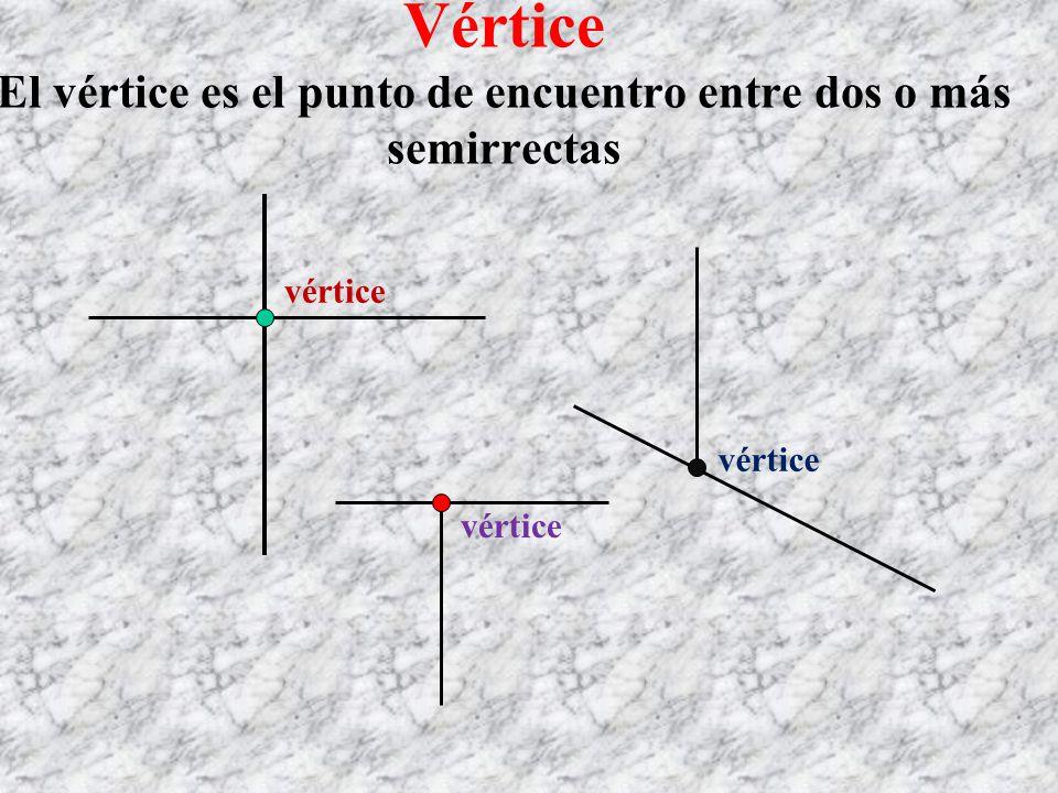 Vértice El vértice es el punto de encuentro entre dos o más semirrectas