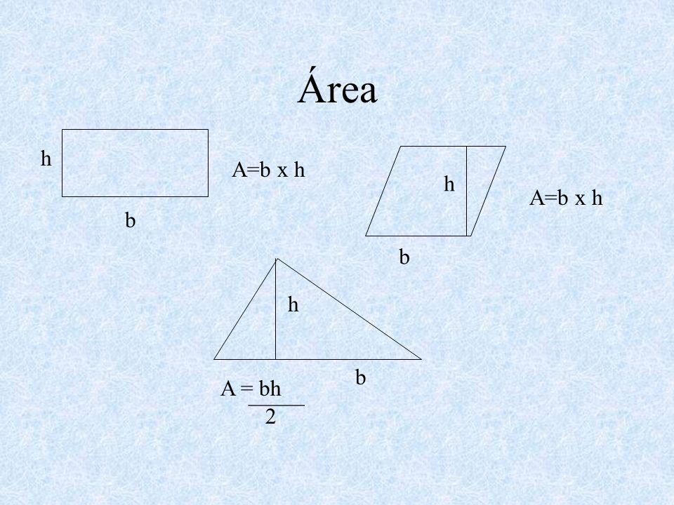 Área h A=b x h h A=b x h b b h b A = bh _____ 2