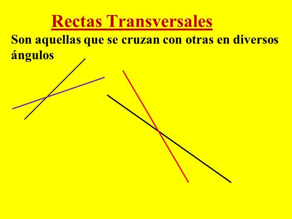 Rectas Transversales Son aquellas que se cruzan con otras en diversos ángulos