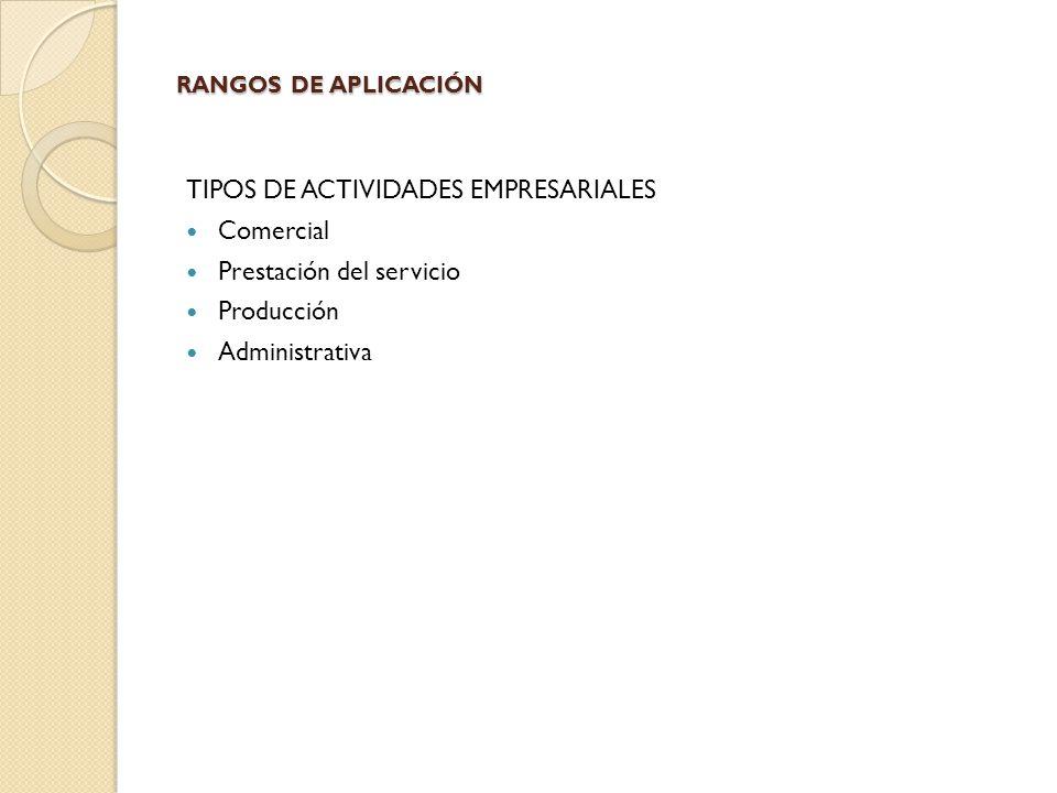 TIPOS DE ACTIVIDADES EMPRESARIALES Comercial Prestación del servicio