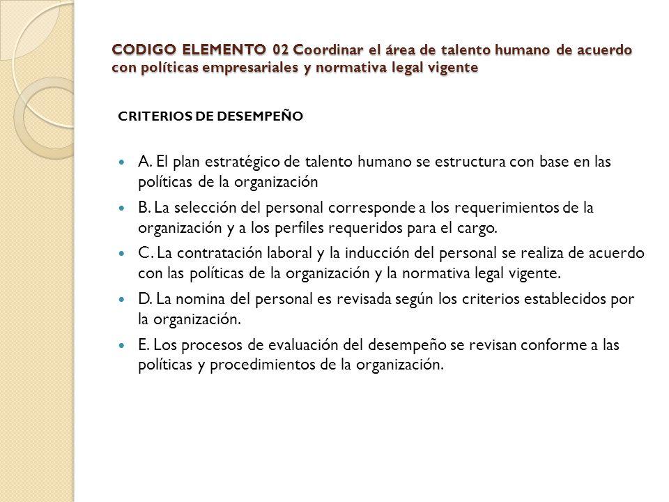 CODIGO ELEMENTO 02 Coordinar el área de talento humano de acuerdo con políticas empresariales y normativa legal vigente