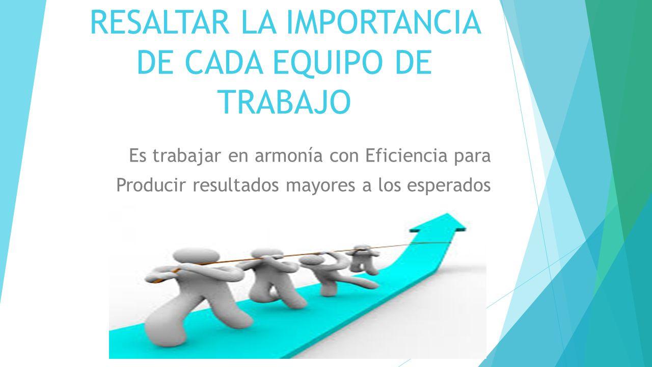 RESALTAR LA IMPORTANCIA DE CADA EQUIPO DE TRABAJO