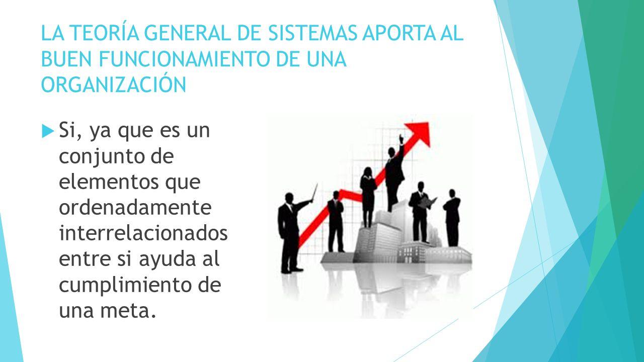 LA TEORÍA GENERAL DE SISTEMAS APORTA AL BUEN FUNCIONAMIENTO DE UNA ORGANIZACIÓN