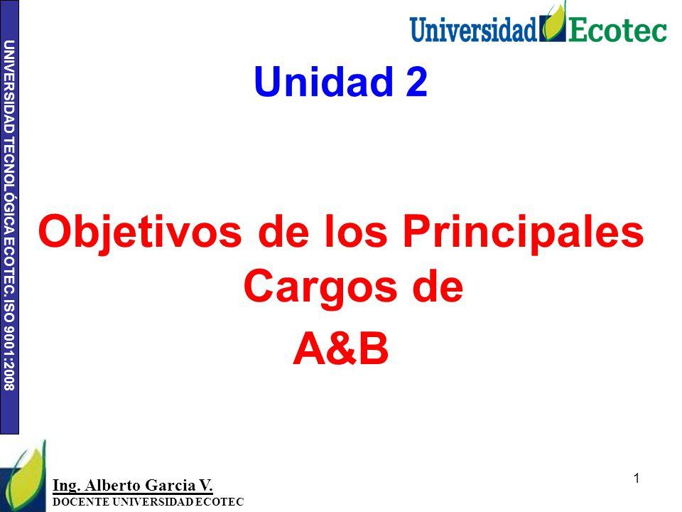 Objetivos de los Principales Cargos de A&B