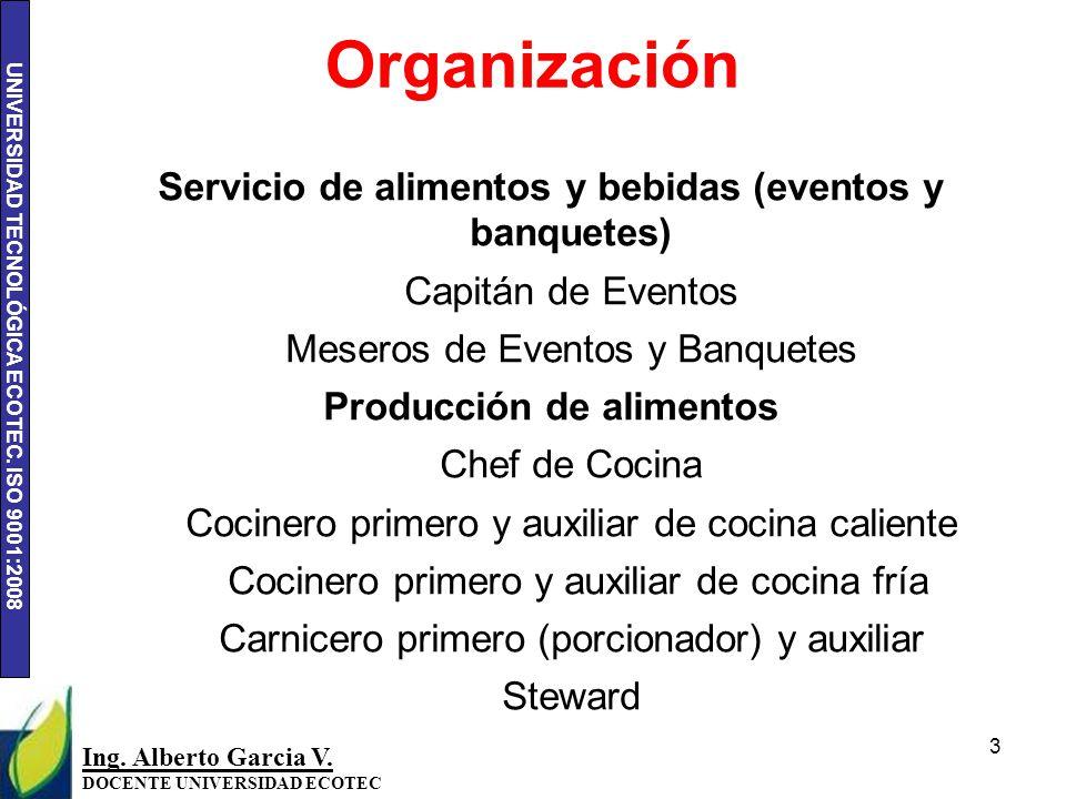 Organización Servicio de alimentos y bebidas (eventos y banquetes)