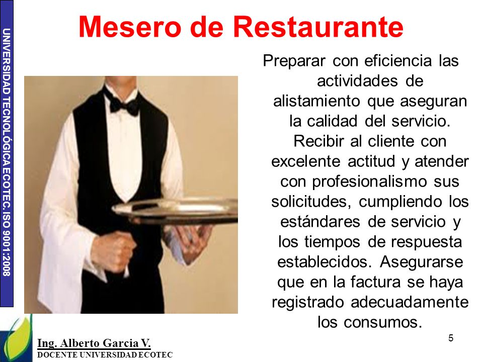 Mesero de Restaurante