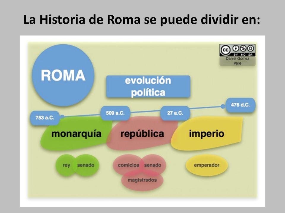 La Historia de Roma se puede dividir en:
