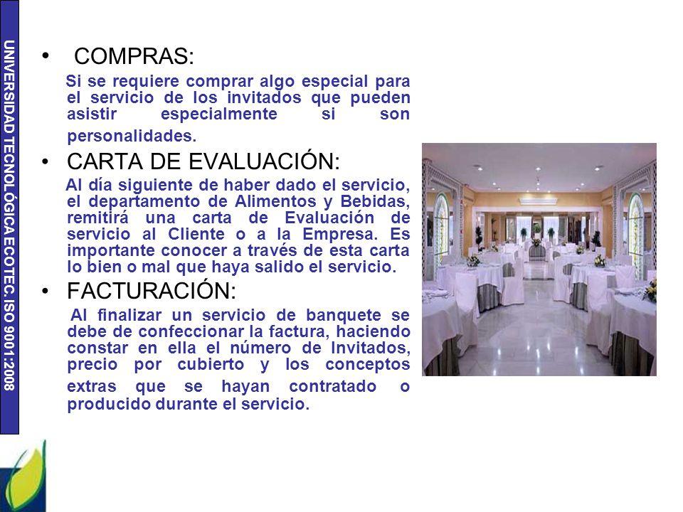 COMPRAS: CARTA DE EVALUACIÓN: FACTURACIÓN: