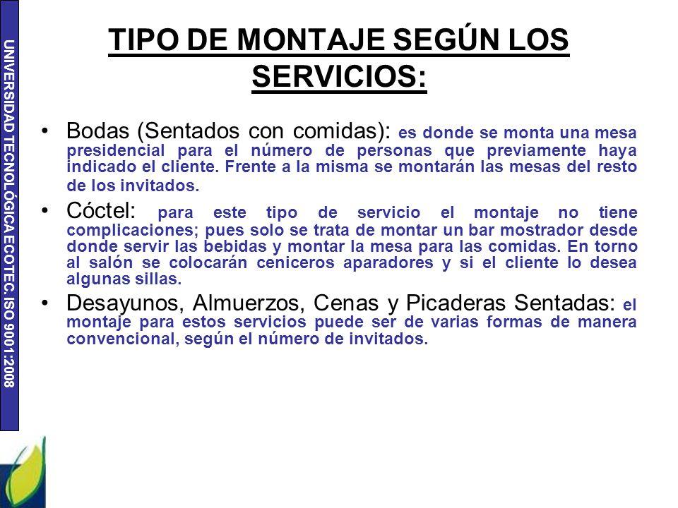 TIPO DE MONTAJE SEGÚN LOS SERVICIOS: