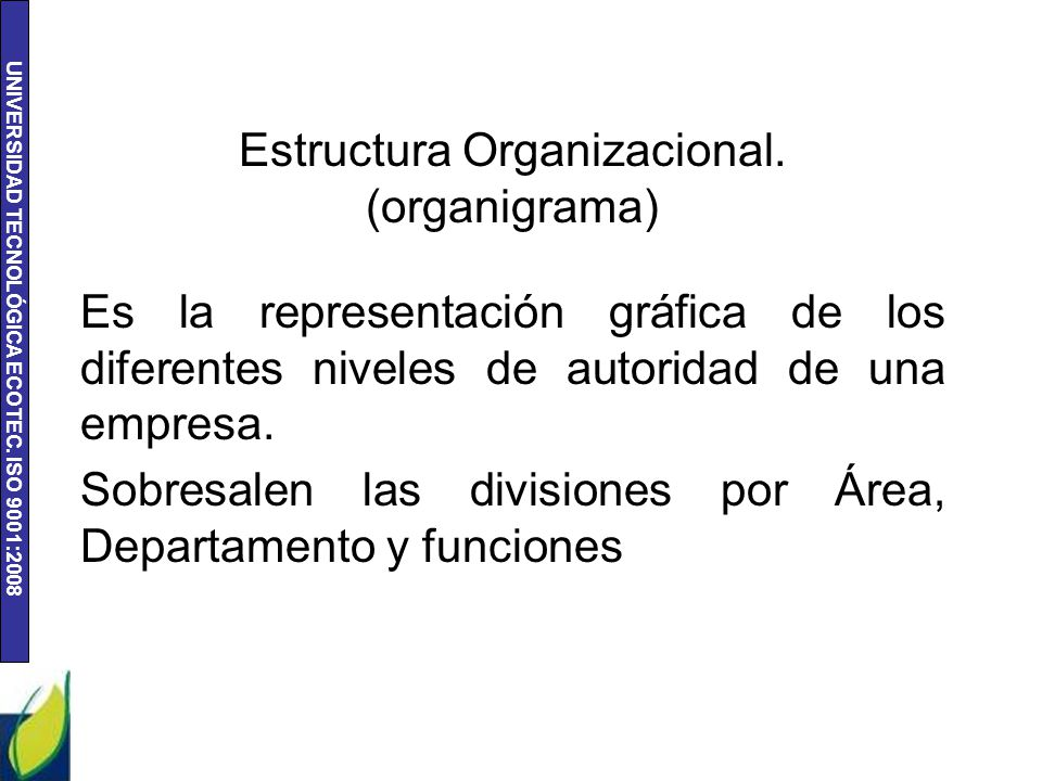 Estructura Organizacional. (organigrama)