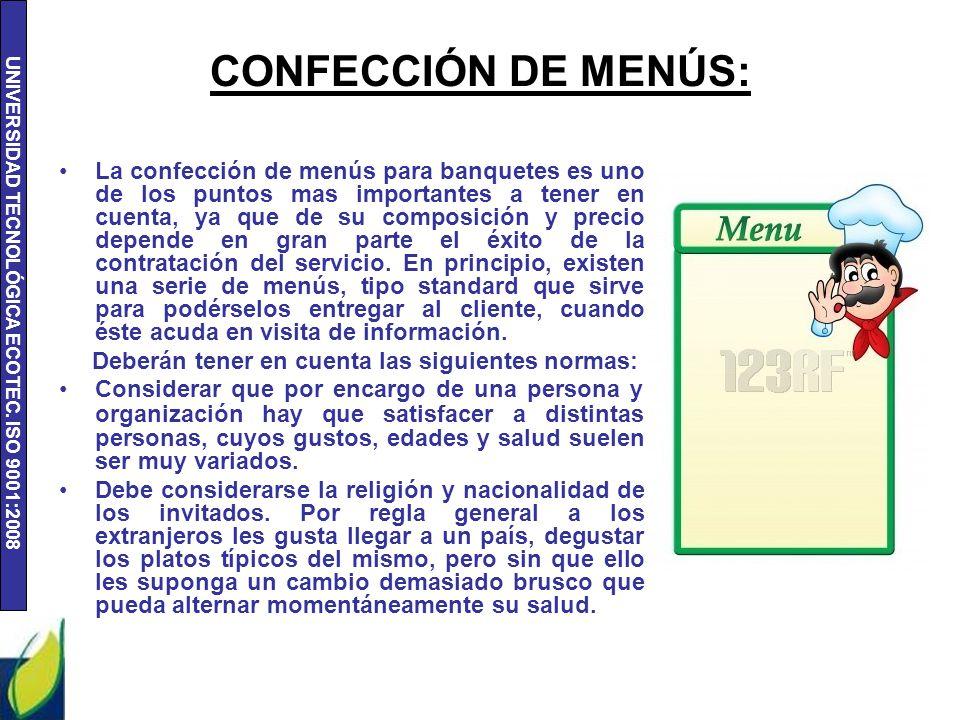 CONFECCIÓN DE MENÚS: