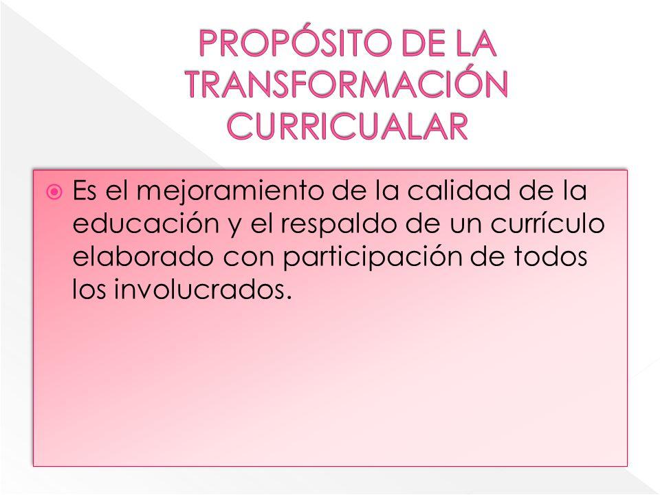 PROPÓSITO DE LA TRANSFORMACIÓN CURRICUALAR