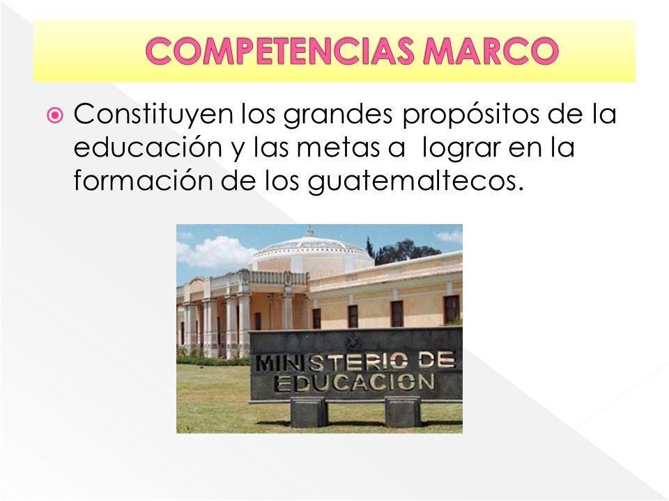 COMPETENCIAS MARCO Constituyen los grandes propósitos de la educación y las metas a lograr en la formación de los guatemaltecos.
