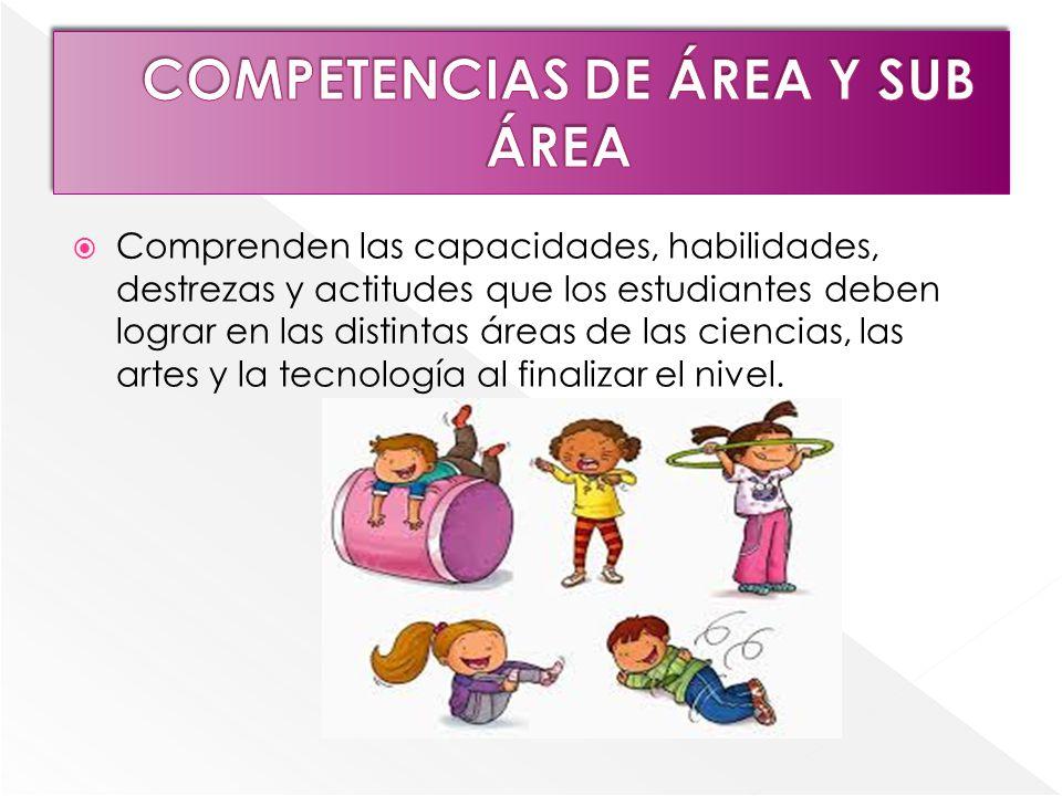 COMPETENCIAS DE ÁREA Y SUB ÁREA
