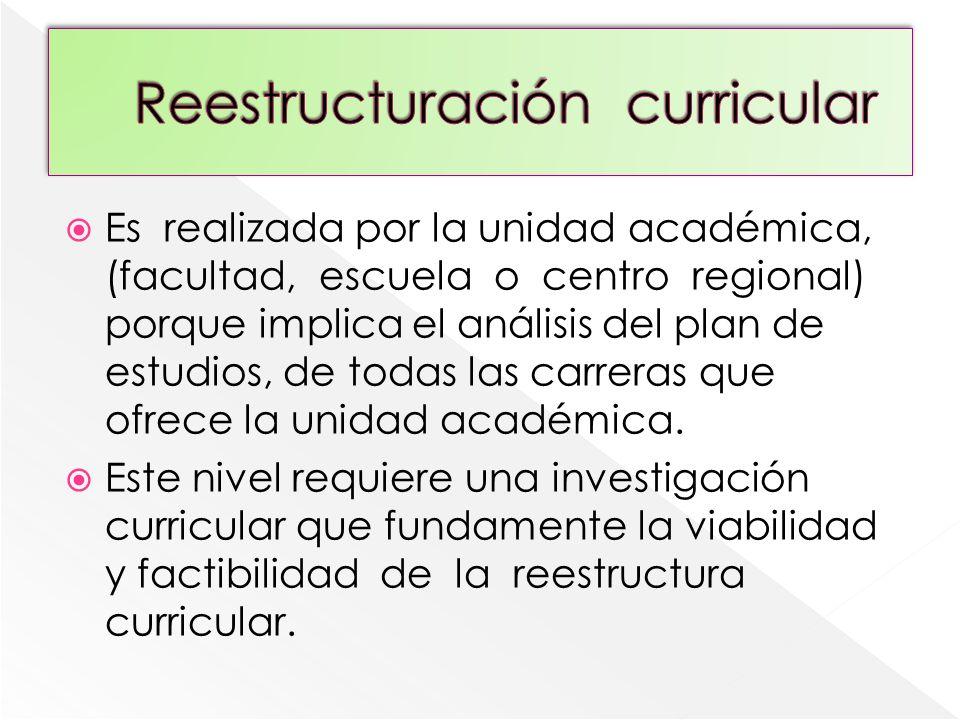 Reestructuración curricular